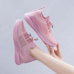 O logotipo personalizado superior em malha respirável Fitness Casual Plana Lady mulheres calçado desportivo de moda