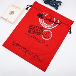 Il natale presenta a memoria i sacchetti Hessian dei sacchi della Santa di natale della tela da imballaggio con il Drawstring