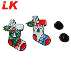 Custom Design Logo émail doux chaussette de Noël de l'épinglette