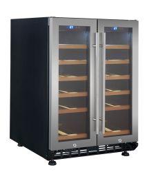 130L 36 Garrafas Ss Door Fan Refrigeração Zonas duplas em contrariar Cave um Vin com trava de segurança