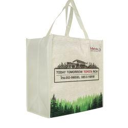 تسوق مطبوع مخصص يحمل علامة تجارية يعالج التوت القابل لإعادة الاستخدام المطوية على المطويات والمتربة حقيبة حامل غير منسوجة مصنوعة من البوليستر مصنوعة من قماش سبونبوند لبP لسوق التسوق