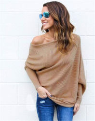 Nuevo diseño del primavera otoño las mujeres los hombros al descubierto un suéter tejido (17204)