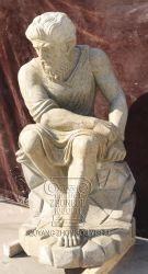 Gelber Granit-sitzende Mann-Statue-Marmor-Skulptur für Garten-Dekoration