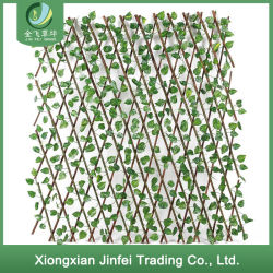 Legno di segretezza della decorazione della rete fissa del giardino con la rete fissa ritrattabile di estensione del foglio verde artificiale per la decorazione della casa del cortile