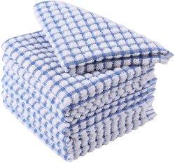Les serviettes de cuisine, coton terry plat en vrac Les serviettes et torchons, Super Doux et absorbant les chiffons de nettoyage domestique pour laver le linge de cuisine et plats de séchage Squa