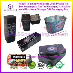 Ready per spedire! ! Comerciare il contenitore all'ingrosso impaccante impaccante rettangolare stampato marchio di regalo di memoria del metallo del contenitore di metallo del cioccolato di Teatin del contenitore di stagno