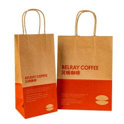 Logo personnalisé impression d'aliments à emporter un sac de papier kraft brun avec poignée