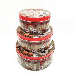 Round Conjunto de Três Caixa de estanho Lata Caixa de embalagem de metal para a festa de Natal biscoito de alimentos