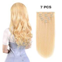 Les clips de race blanche dans les cheveux blonds droites d'extension double trame Remy Clips dans l'Hair Extensions pour femme blanche
