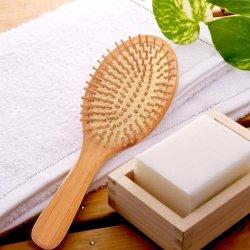 100% натурального бамбука волосы щеткой Anti-Static гребень для волос из дерева с подушечками из натуральной щетины органических Hairbrush