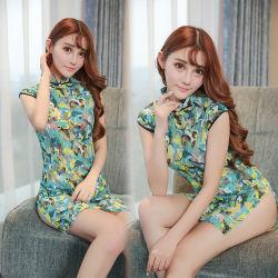 Padrão colorido Sedução Cheongsam Fenda Alta vestido Sexy