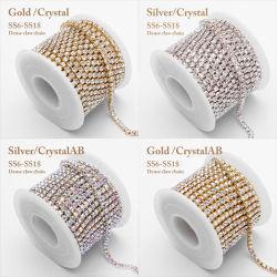 Neue Formnähen Glaskristallrhinestones-Ohrring-Kette auf Zutat-Abschluss-Cuprhinestone-Ketten für Schuh-Aufladungs-Dekoration