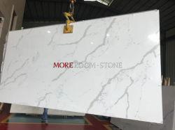 Plak van de Steen van het Kwarts van de Steen van de Verkoop van China van het Product van de bevordering de Hete Kunstmatige Witte Marmeren voor Countertops van de Keuken