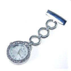 Het hete Zilveren Horloge van Verpleegsters Bling met de Band en de Diamanten van de Cirkel