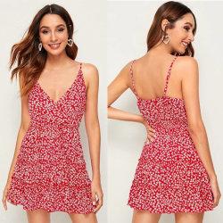 Solte o botão de Halter Impressão Envio Fashion Mulheres Beach Imprimir vestido Causal Girl Halter vestido Boho Verão