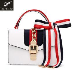 Hot Sale ODM/OEM Quatre couleurs Classic vintage élégant Mesdames PU sac à main avec ruban de soie