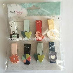 Nuevo diseño en forma de clip de madera /Corazón Clothespin/mini tacos de madera decorativos