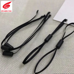 黒かWhite Satin Ribbon Cylinder Double Lock Fasteners Hang Tag String Loop Hook Clothing String