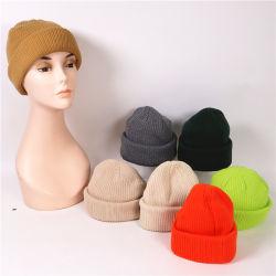 Tricoté Beanie Cap Custom Mens Slouch Patch en cuir Beanie chapeaux