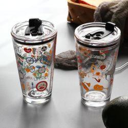 Новая конструкция красочные ручной работы питьевой Pyrex стекло наружного кольца подшипника со стеклянной крышкой изолированный кружки кофе чашки