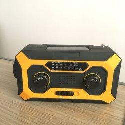 Manivelle de secours rechargeable solaire Powered Radio AM/FM avec lampe de poche LED alerté et chargeur pour téléphone portable