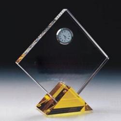 Verre en cristal Trophy Award avec horloge