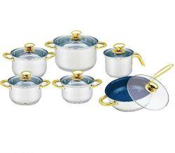 Formato do ventre 12PCS Conjunto de Panelas em Aço Inoxidável com Nonstick Frypan em mármore e ouro do Potenciômetro da Alavanca Electroplate Leite e o botão