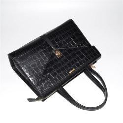 Мода дизайн черный цвет женщин дамской сумочке Croco PU Satchel сумка из натуральной кожи