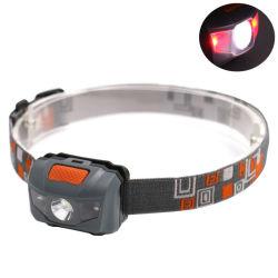 LED-Hauptlicht mit roten Warnleuchten-tragbaren Scheinwerfer-Fühler-Schalter-Taschenlampen für kampierendes draußen wandern