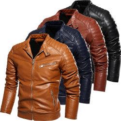 2020 новый дизайн мужчин осенью и зимой мужчин высокое качество моды слой кожи куртка мотоцикл Штекерные деловой повседневный Куртки для мужчин теплого Черного цвета пальто