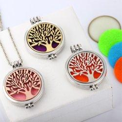 Medallón de Aromaterapia Collar Collar con fieltro de patrón de Joyas de acero inoxidable colgante para árbol de la vida DIFUSOR de ACEITES ESENCIALES collares