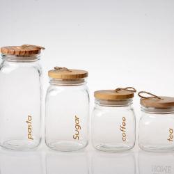 투명 유리 음식 스파이스 저장 용기 및 병 유리 캔디 나무 코크 뚜껑이 있는 용기