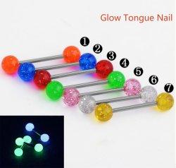 Fashion Body Jewellery 316L acciaio inox acciaio medicale Piercing acrilico 14G luminoso linguetta a sfera Nails linguetta a luminanza Nail Snrg02