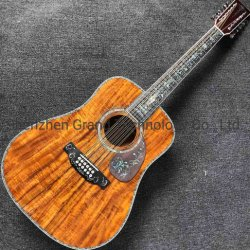 Custom 12 cordas Solid Koa Wood top Ebony Fingerboard Plena Abalone Inlay acústica vinculativo guitarra eléctrica