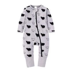 Fille Bébé garçon solide personnalisé Zipper 100% coton jouer costume costume de Romper Jumpsuit un morceau de l'automne Vêtements bébé Jumpsuit