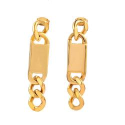 Chunky RVS oorbellen in Gold Plated RVS trendy Blogger dangle Oorbellen voor vrouwen