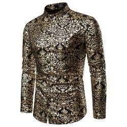 남성용 히스터 럭셔리 블랙 골드 브론징 프린티드 슬림 긴팔 셔츠