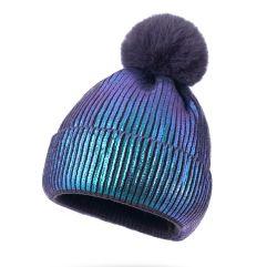 관례 100% 여자 겨울 형식 Laser에 의하여 뜨개질을 하는 모자 여자를 위한 모피 POM를 가진 아크릴 베레모 모자