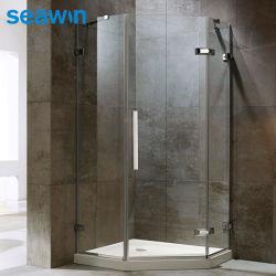 Box doccia in vetro temperato trasparente da 10 mm senza cornice per bagno dell'hotel