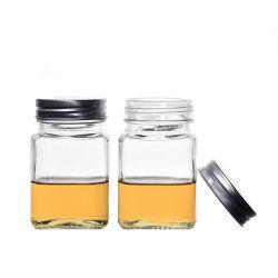أواني زجاجية فارغة سعة 380 مل من الألومنيوم المربع Flint الألمنيوم تخزين الطعام لراطز زجاجية وقناني