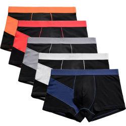 Hotsale roupa interior de algodão penteado Painel de Alto Contraste de moda Plus Size Boxer Cuecas para homem
