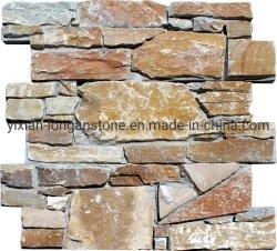 벽 돌 위원회를 위한 베이지색 겹쳐 쌓인 선반 문화 돌