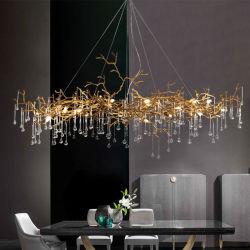 A banda decorativa a iluminação do projeto de cobre de cristal lustre de latão, aceitar a personalização