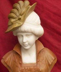 Indoor statue de pierre tête buste en marbre sculpture pour la décoration d'accueil