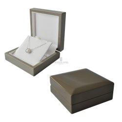 Custom Diamond-Style Cinza Acabamento brilhante de alta joalharia Madeira Brinco Dom Pendente para exibir a caixa de embalagem