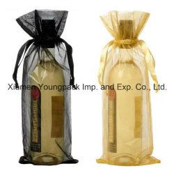 Großhandelsmasse personifizierte fördernde kundenspezifische silberne Organza-Gewebe-Wein-Bevorzugungs-Beutel