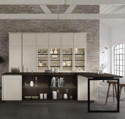 Laca estilo Shaker kitchen cabinet con cesta
