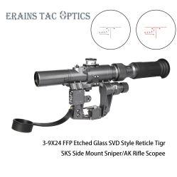 Военного стандарта Draguno Riflescope с Svd 3-9X24 первого в фокальной плоскости красной подсветкой прицельной сетки винтовка возможности для Ak47 Airsoft снайпера из виду
