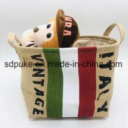 China artesanais Fornecedor Juta Natural Square Portable não tecidos cesto de armazenamento com pegas