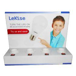 Impresso logotipo Eco-Friendly acrílico branco de alta qualidade suporte da lâmpada LED móveis nas lojas de marca Exibir